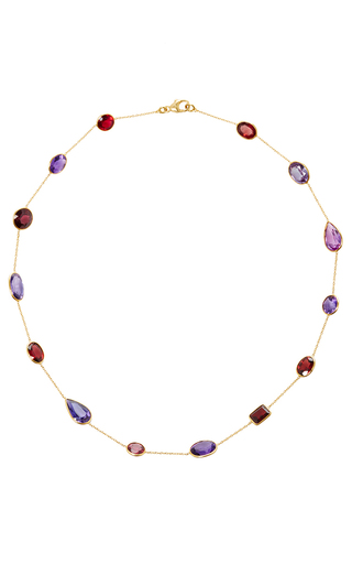 Medium renee lewis purple tourmalines and amethyst stone chain necklace