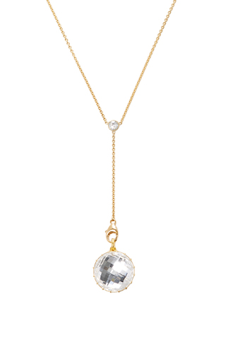 Medium renee lewis white diamond and gem rock quartz backed white diamond shake necklace with y chain