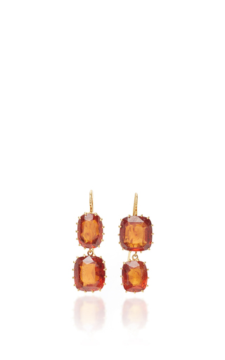 Medium renee lewis red rare natural hessonite garnet earrings