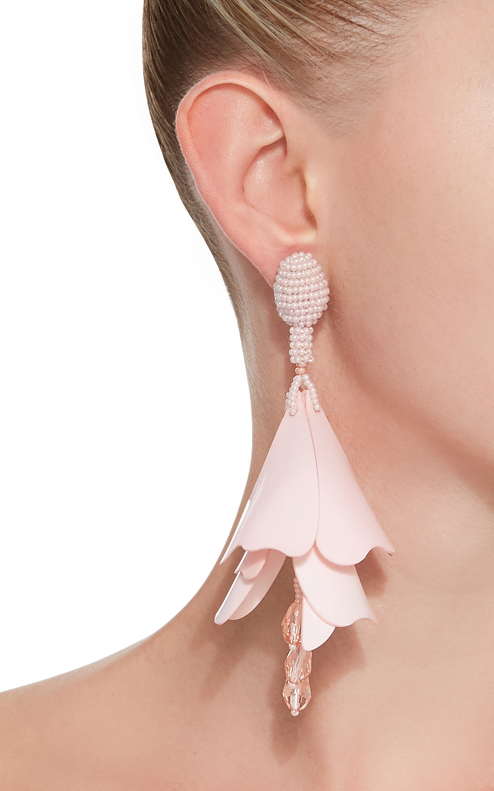 Impatiens Flower Drop Earrings By Oscar De La Renta Moda