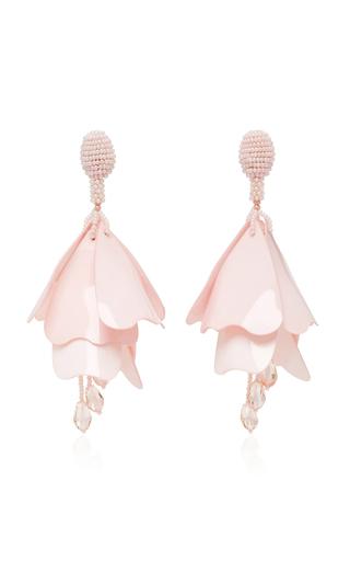 Medium oscar de la renta pink impatiens flower drop earrings