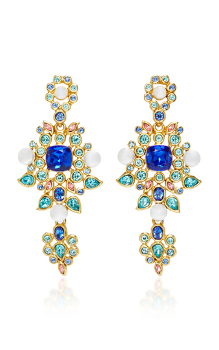 Medium oscar de la renta blue multi crystal and pearl c earrings
