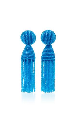 Medium oscar de la renta blue short beaded c tassel earrings
