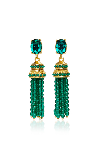 Medium oscar de la renta green bejeweled tassel c earring