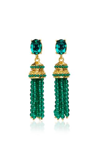 Medium oscar de la renta green bejeweled tassel c earring