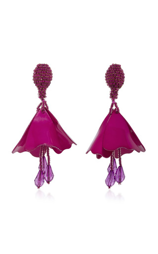 Medium oscar de la renta pink small impatiens flower earrings