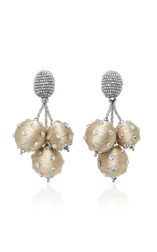 Medium oscar de la renta gold triple ball polka dot earrings
