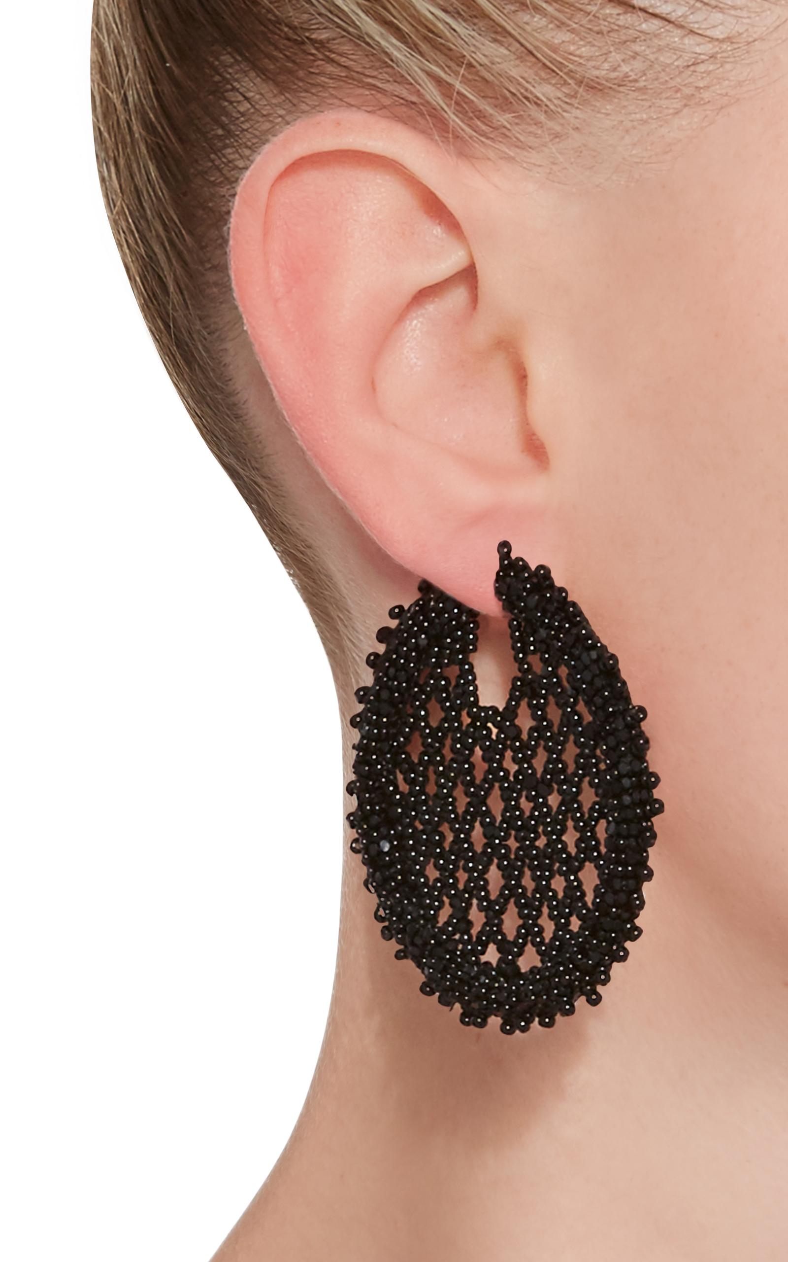 Oscar de la Renta Beaded Sequin Ball Earrings ...