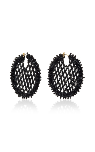 Medium oscar de la renta black beaded lattice disc earring