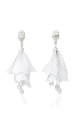 Medium oscar de la renta white impatiens flower drop earrings 2