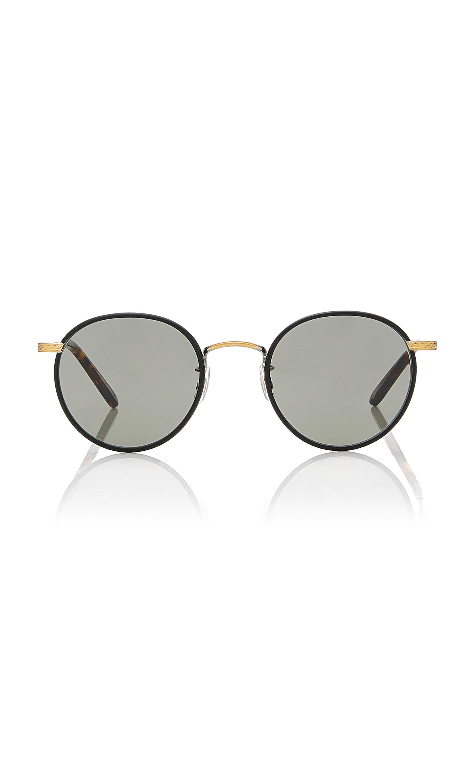 GARRETT LEIGHT Wilson 49 Stainless Steel Sunglasses in Black