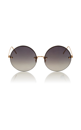Medium linda farrow gold grey frameless circle lens sunglasses