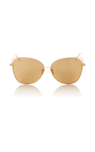 Medium linda farrow gold gold polarized lens sunglasses