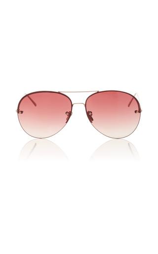 Medium linda farrow gold frameless burgundy aviator sunglasses