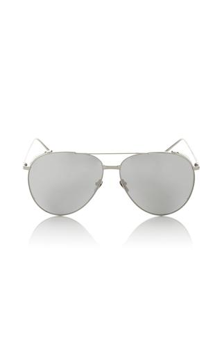 Medium linda farrow silver silver frame polarized aviator sunglasses