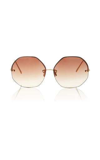 Medium linda farrow gold hexagon frameless sunglasses