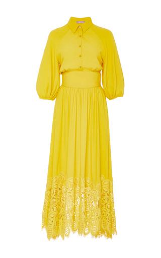 Medium lela rose yellow full sleeve dress with lace hem