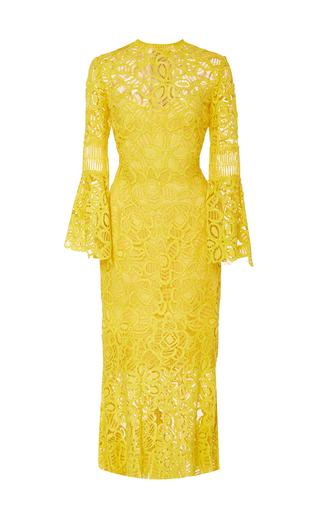 Medium lela rose yellow flounce sleeve fitted dress