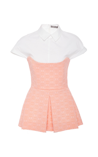 Medium lela rose pink poplin combo peplum top