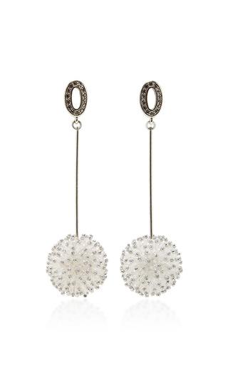 Medium lela rose white beaded bauble earrings