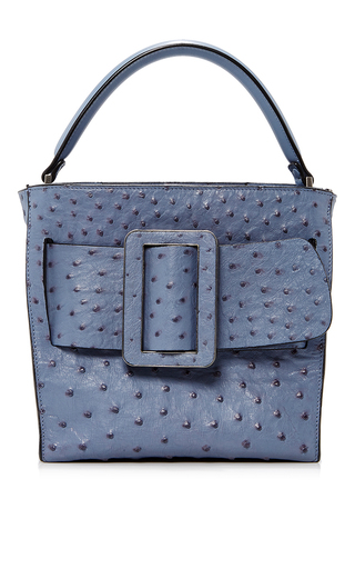 Medium boyy blue ostrich devon tote 21cm