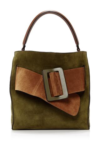 Medium boyy dark green colorblock suede devon bag