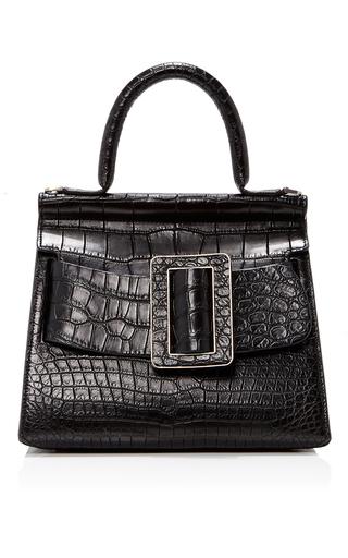 Medium boyy black crocodile karl top handle bag 24cm