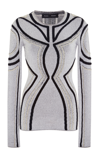Medium proenza schouler white crewneck intarsia loop knit sweater