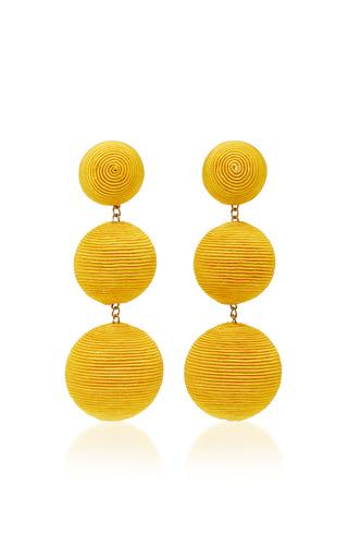 Medium rebecca de ravenel yellow classic silk corded earrings