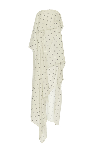 Medium acler print oxford strapless maxi dress