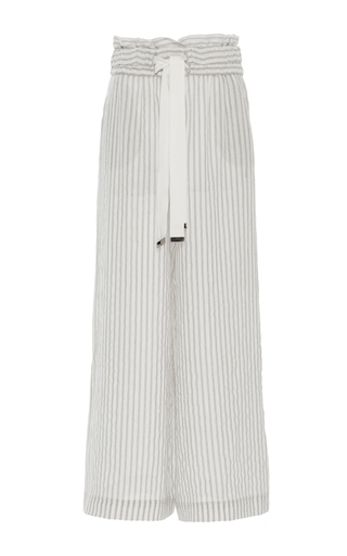 Medium acler stripe preston ivory striped wide leg pants