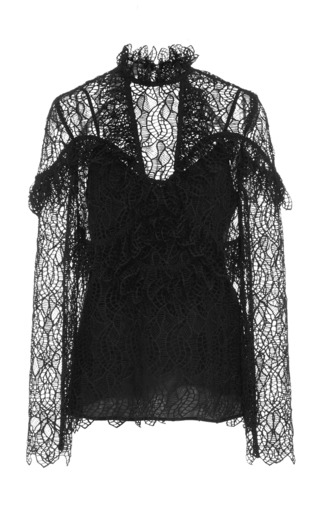 Medium acler black elan ruffled lace blouse