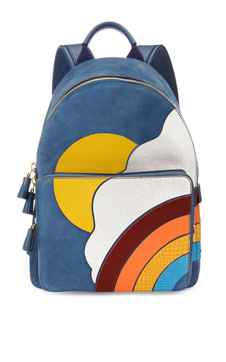 Medium anya hindmarch blue backpack mini silver cloud in airforce blue smooth calf