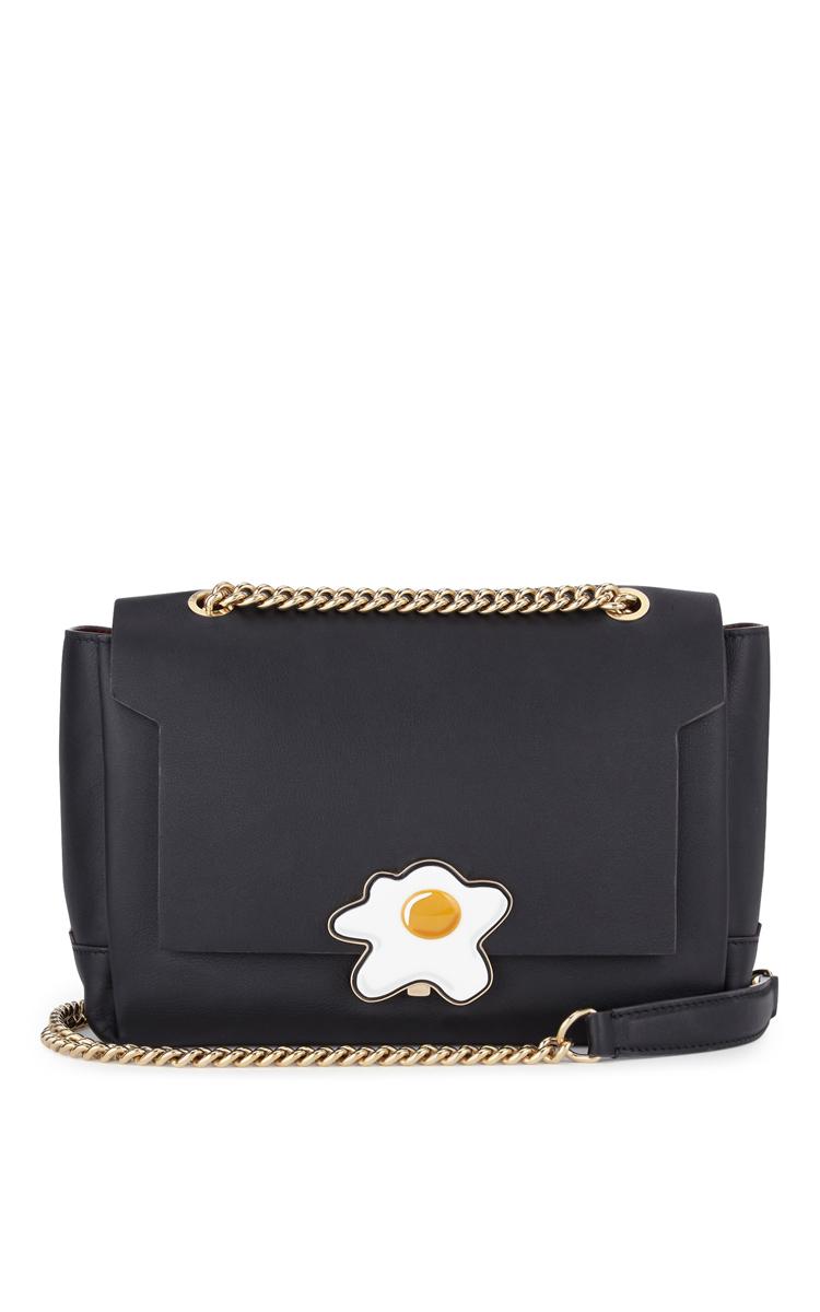 687f203e29 Anya HindmarchBathurst Chain Crossbody Lock Egg In Black Silk Calf. CLOSE.  Loading