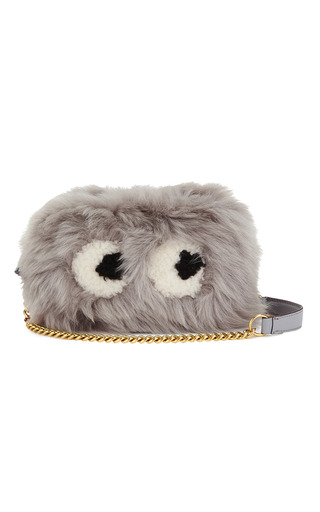 Medium anya hindmarch light grey crossbody mini eyes in light slate shearling