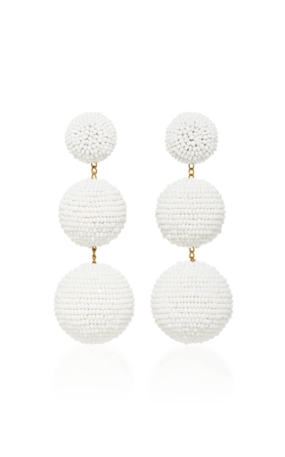 Medium rebecca de ravenel white classic short earrings 2