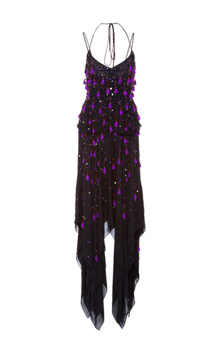 Medium prabal gurung multi embroidered thin strap handkerchief hem dress