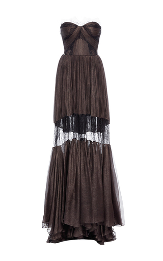 Medium maria lucia hohan black the celia lace detail pleated dress