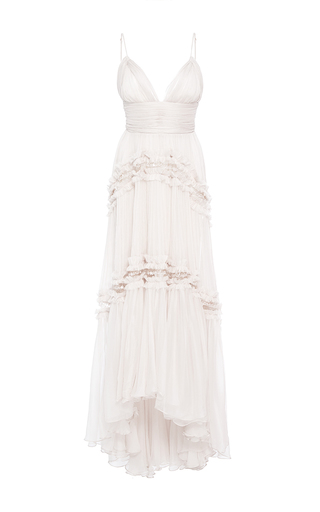 Medium maria lucia hohan white the delilah v neck pleated dress
