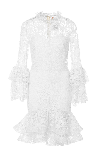 Medium maria lucia hohan white the flower flounced hem dress