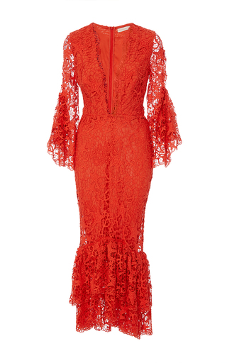 Medium maria lucia hohan red the milan plunging v neck dress