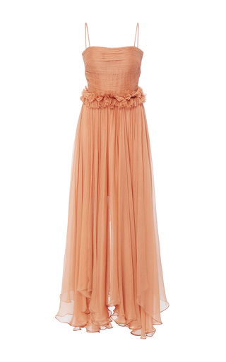 Medium maria lucia hohan orange the andrina pleated midi dress