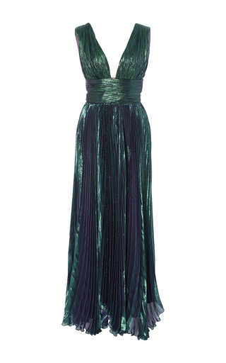 Medium maria lucia hohan green the merida plunging neck midi dress