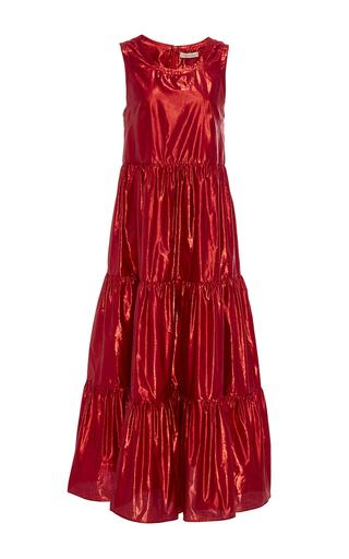 Medium maria lucia hohan red the amos flounced midi dress