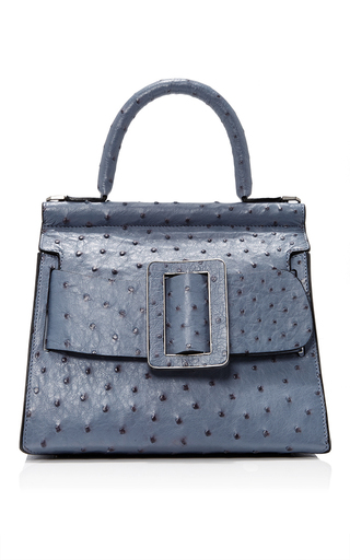 Medium boyy blue ostrich karl top handle bag 24cm