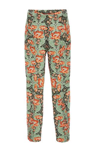 Medium zac posen green bellflower jacquard high waisted pants