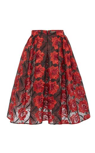 Medium zac posen red poppy embroidered a line midi skirt