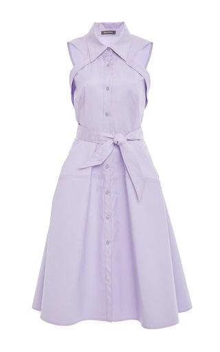 Medium zac posen purple sleeveless shirt dress