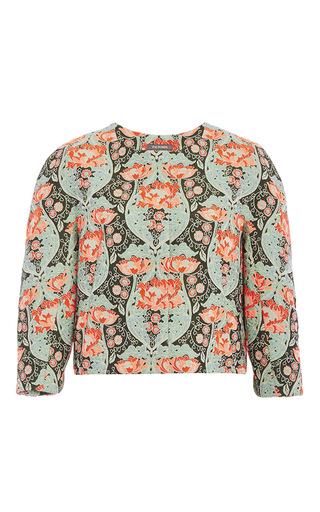 Medium zac posen green bellflower jacquard three quarter length sleeve jacket