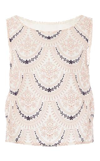 Medium zac posen multi pergola embroidery sleeveless top